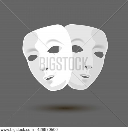Theatrical Masks In White On A Dark Background. Theatrical Icon. Theater Icon. Vector Illustration.
