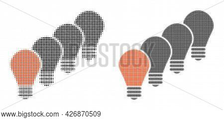 Dot Halftone Lamp Bulbs Icon. Vector Halftone Collage Of Lamp Bulbs Icon Designed Of Circle Elements