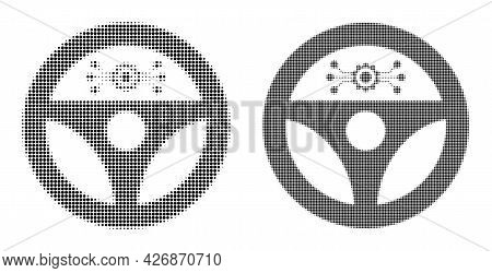 Pixelated Halftone Autopilot Icon. Vector Halftone Collage Of Autopilot Icon Formed Of Round Items.