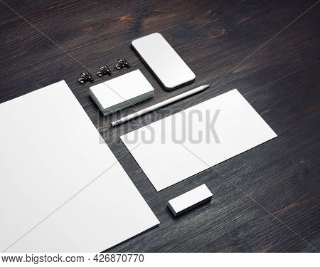 Blank Stationery Set On Wood Table Background. Template For Branding Identity. For Graphic Designers