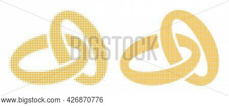 Dotted Halftone Gold Rings Icon. Vector Halftone Pattern Of Gold Rings Icon Organized Of Spheric Pix