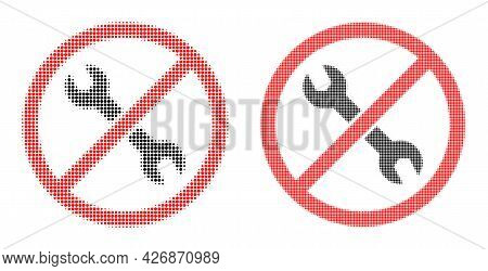 Pixel Halftone Forbidden Repair Icon. Vector Halftone Composition Of Forbidden Repair Symbol Done Of
