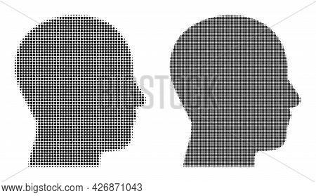 Pixel Halftone Man Profile Icon. Vector Halftone Mosaic Of Man Profile Icon Combined Of Circle Eleme