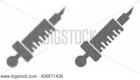 Dot Halftone Medical Injection Icon. Vector Halftone Pattern Of Medical Injection Icon Done Of Circl
