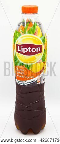 Lipton Ice Tea Peach Flavored Still Drink, Isolated On White Background, Istanbul Turkey August 02 2
