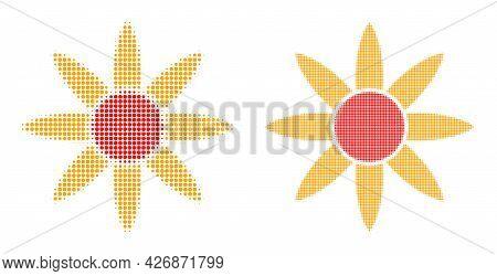 Dot Halftone Sun Shine Icon. Vector Halftone Concept Of Sun Shine Icon Created Of Spheric Pixels.