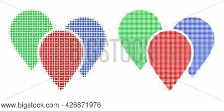 Dotted Halftone Map Pointer Group Icon. Vector Halftone Pattern Of Map Pointer Group Icon Constructe