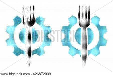 Pixelated Halftone Food Hitech Icon. Vector Halftone Pattern Of Food Hitech Icon Done Of Spheric Pix