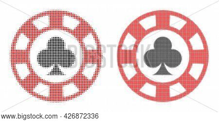 Pixelated Halftone Clubs Casino Chip Icon. Vector Halftone Concept Of Clubs Casino Chip Icon Created