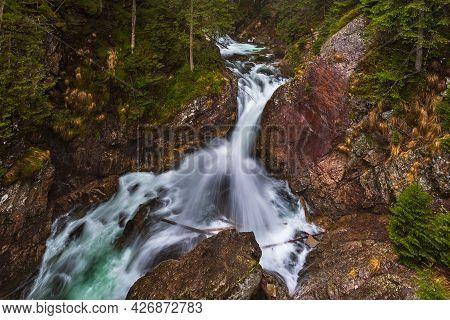 View Of The Waterfalls Of Mickiewicz, Wodogrzmoty Mickiewicza In The High Tatras On Roztoka Stream.