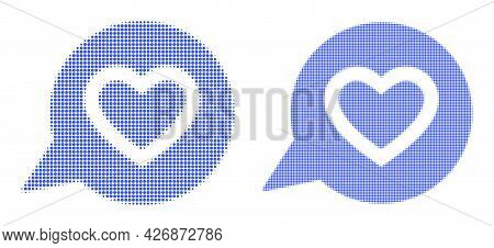 Pixelated Halftone Favourite Heart Message Icon. Vector Halftone Composition Of Favourite Heart Mess