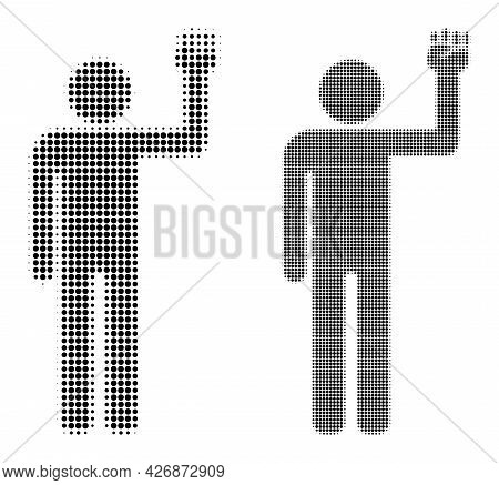 Dotted Halftone Man Fist Up Icon. Vector Halftone Concept Of Man Fist Up Icon Done Of Spheric Dots.