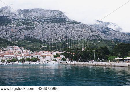 Makarska Marina Croatia Mountains Seaside City Hill Clouds