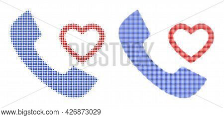 Dotted Halftone Love Phone Receiver Icon. Vector Halftone Composition Of Love Phone Receiver Icon Fo