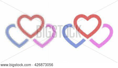 Dotted Halftone Triple Love Hearts Icon. Vector Halftone Concept Of Triple Love Hearts Icon Made Of