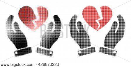 Pixel Halftone Broken Heart Care Hands Icon. Vector Halftone Pattern Of Broken Heart Care Hands Symb