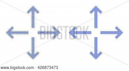 Dot Halftone Expand Arrows Icon. Vector Halftone Collage Of Expand Arrows Icon Composed Of Spheric D