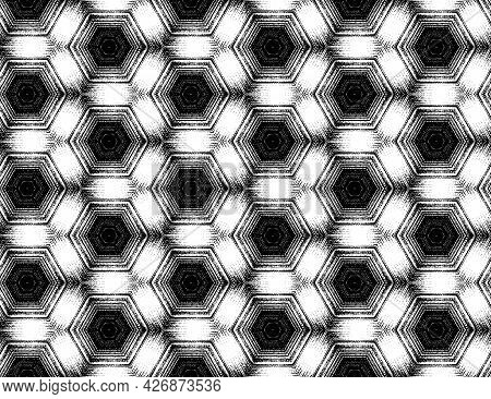 Abstract Black And White Textured Pattern With Kaleidoscope Effect. Seamless Symmetric Geometric Orn