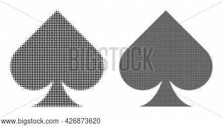 Pixelated Halftone Playing Card Spade Suit Icon. Vector Halftone Pattern Of Playing Card Spade Suit