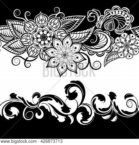 Black And White Ornament In The Pattern.vector Pattern Of Black And White Elegant Ornament.