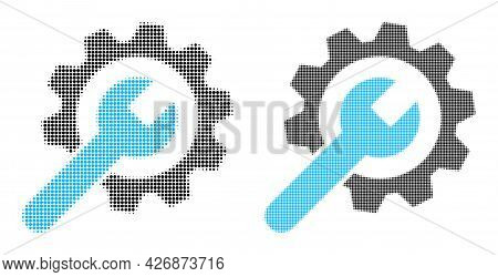 Pixel Halftone Service Wheel Icon. Vector Halftone Concept Of Service Wheel Symbol Combined Of Spher