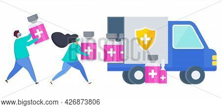 Vaccine Delivery Plan Icon. People Are Putting The Vaccine Into The Truck.