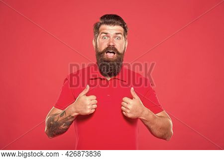 Unshaven Man With Beard. Portrait Of Bearded Man Red Background. Brutal Guy With Mustache. Hipster W