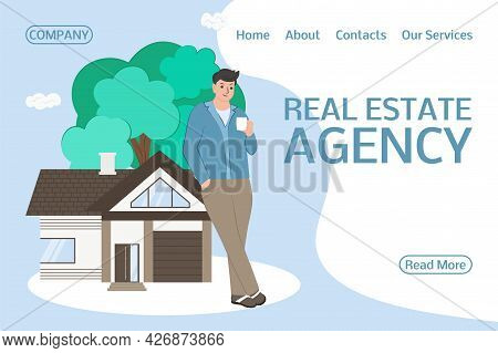 A Real Estate Agent Offers A Home For Purchase Or Rent. Concept For The Sale, Purchase, Rent, Capita