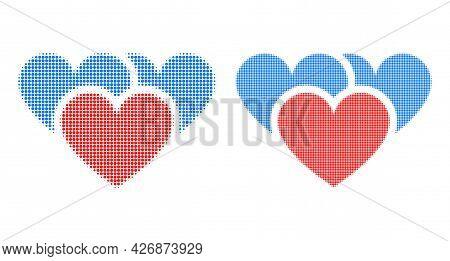 Pixelated Halftone Love Hearts Icon. Vector Halftone Collage Of Love Hearts Icon Created Of Spheric