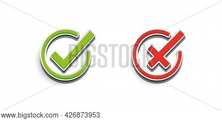 Green Checkmark And Red Cross Icon. Symbol Of Approved And Reject. Eps 10