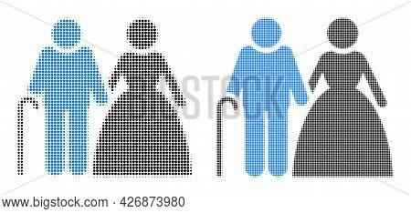 Dot Halftone Grandparents Couple Icon. Vector Halftone Pattern Of Grandparents Couple Icon Construct