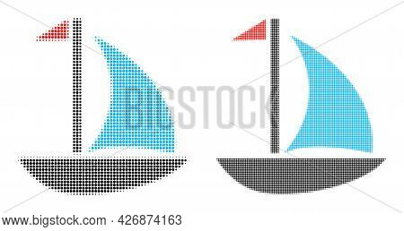 Dot Halftone Sail Boat Icon. Vector Halftone Collage Of Sail Boat Icon Created Of Circle Pixels.