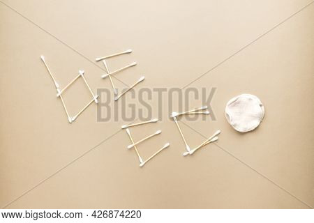 Eco Friendly Concept. Be Eco Inscription Made Of Organic Cotton Swabs And Cotton Pads
