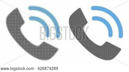 Pixel Halftone Phone Ring Icon. Vector Halftone Mosaic Of Phone Ring Icon Created Of Circle Points.