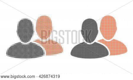 Pixel Halftone Users Icon. Vector Halftone Mosaic Of Users Icon Designed Of Spheric Pixels.