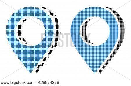 Pixel Halftone Map Marker Shadow Icon. Vector Halftone Collage Of Map Marker Shadow Icon Constructed