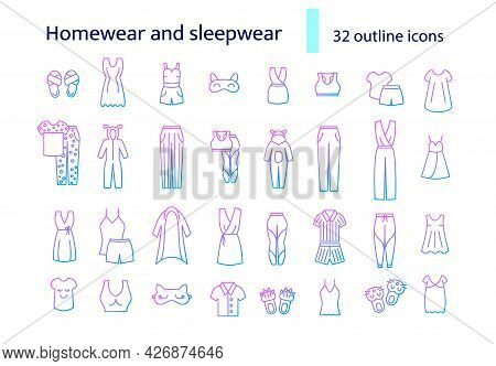 Homewear And Sleepwear Outline Icons Set. Comfortable Clothes. Comfy Garment. Purple Gradient Symbol