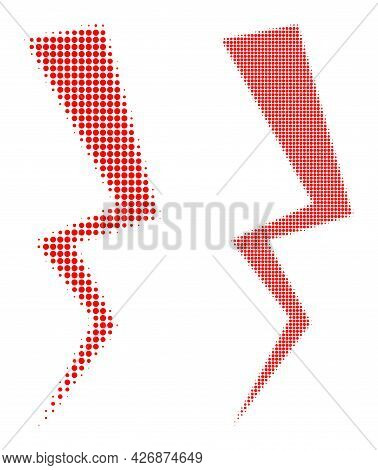 Dot Halftone Electric Strike Icon. Vector Halftone Concept Of Electric Strike Icon Organized With Ci