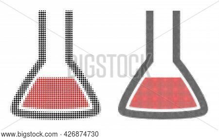 Dot Halftone Chemical Flask Icon. Vector Halftone Collage Of Chemical Flask Icon Formed Of Spheric E