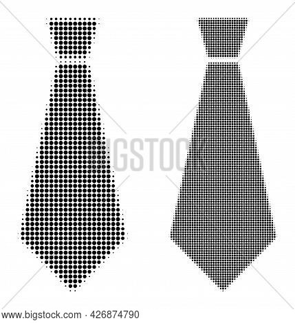 Dotted Halftone Male Tie Icon. Vector Halftone Concept Of Male Tie Icon Created Of Round Items.