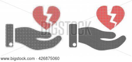 Dotted Halftone Hand Offer Broken Heart Icon. Vector Halftone Pattern Of Hand Offer Broken Heart Ico
