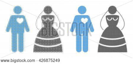 Pixel Halftone Marriage Persons Icon. Vector Halftone Pattern Of Marriage Persons Pictogram Made Of