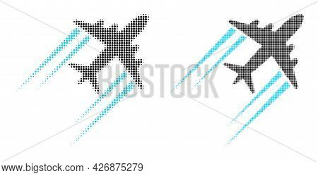 Pixel Halftone Flying Airplane Trace Icon. Vector Halftone Concept Of Flying Airplane Trace Icon Des