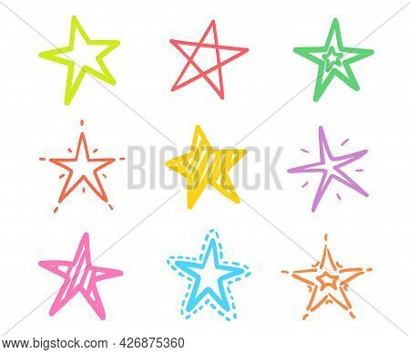 Colorful Star On Isolated Background. Abstract Outlined Stars On White. Freehand Art