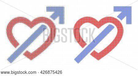 Dot Halftone Heart Penetration Arrow Icon. Vector Halftone Concept Of Heart Penetration Arrow Symbol