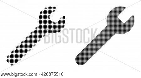 Dot Halftone Wrench Icon. Vector Halftone Collage Of Wrench Icon Made Of Circle Pixels.