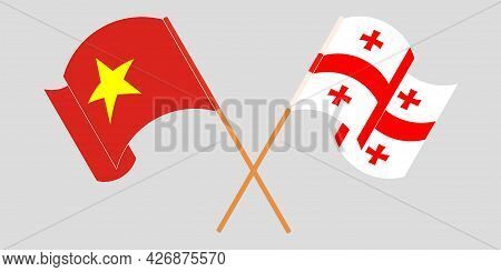 Crossed And Waving Flags Of Georgia And Vietnam