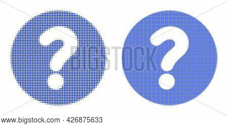 Dot Halftone Query Icon. Vector Halftone Composition Of Query Icon Composed Of Circle Pixels.