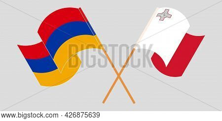 Crossed And Waving Flags Of Malta And Armenia