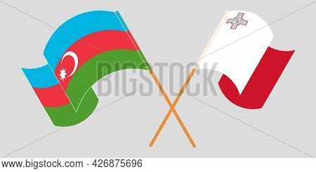 Crossed And Waving Flags Of Malta And Azerbaijan